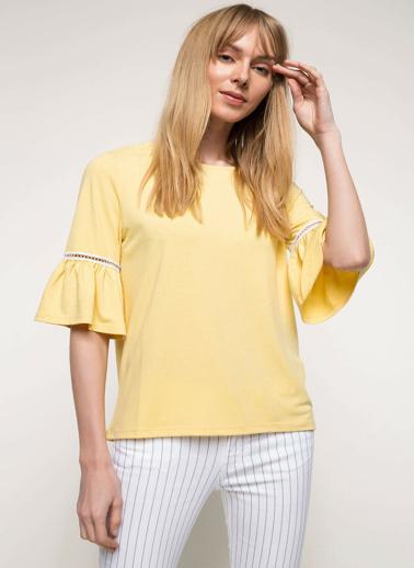 DeFacto Kolları Volan Detaylı Bluz Sarı